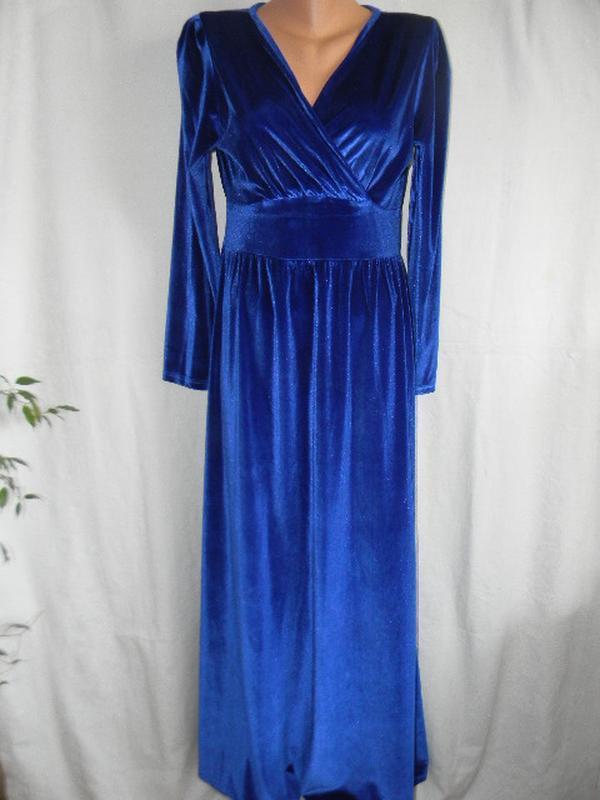 Шикарное длинное велюровое платье