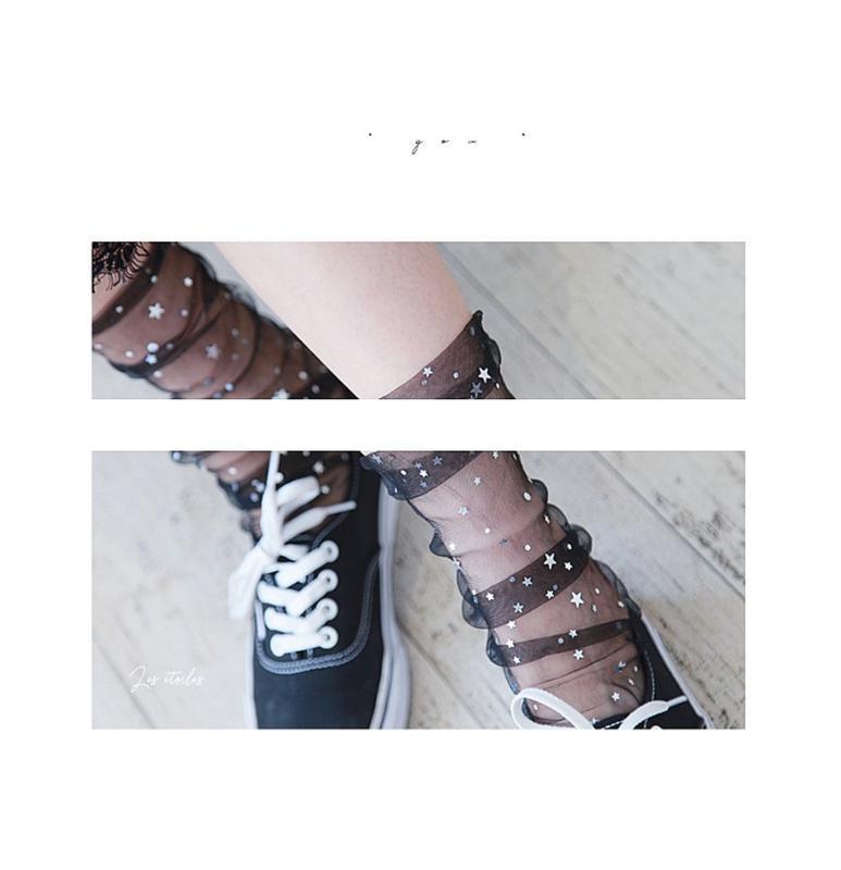Черные носочки боббинетки/сетка/фатин/звездочки/звезды/тренд/н...