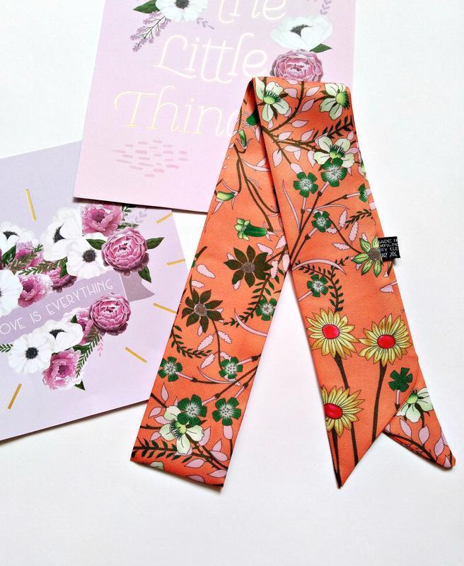 Лента твилли/косынка/платок/цветочный принт/коралловый/стильно...