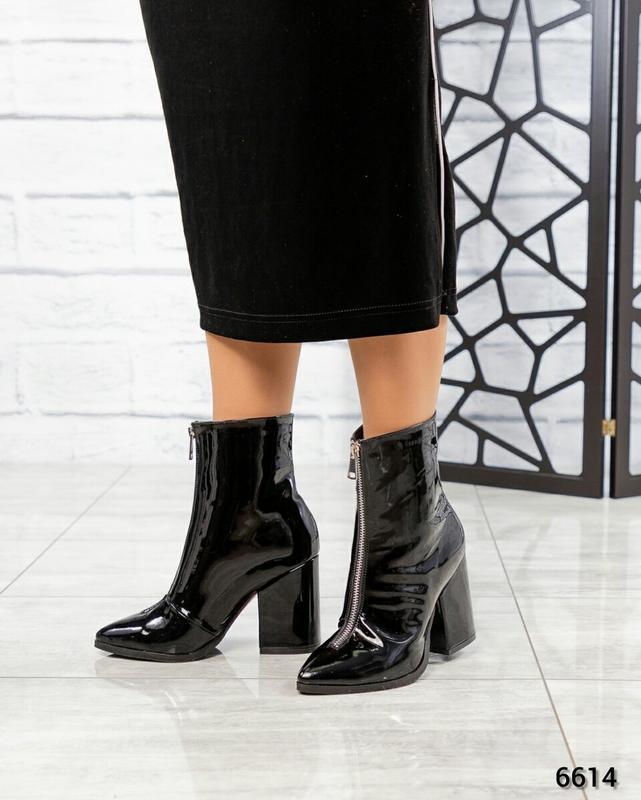 ❤ женские черные весенние демисезонные лаковые кожаные ботинки...