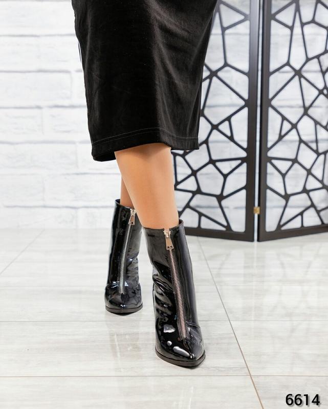 ❤ женские черные весенние демисезонные лаковые кожаные ботинки... - Фото 2