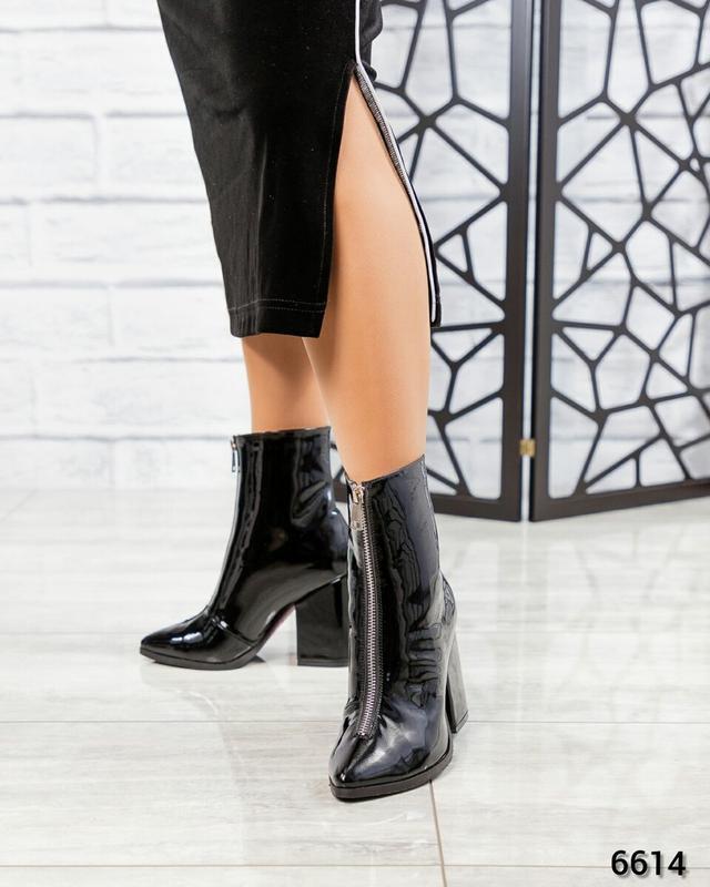 ❤ женские черные весенние демисезонные лаковые кожаные ботинки... - Фото 3