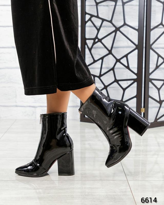 ❤ женские черные весенние демисезонные лаковые кожаные ботинки... - Фото 4