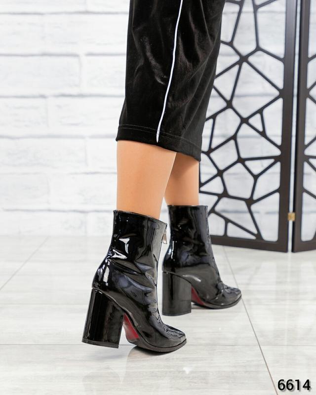 ❤ женские черные весенние демисезонные лаковые кожаные ботинки... - Фото 5