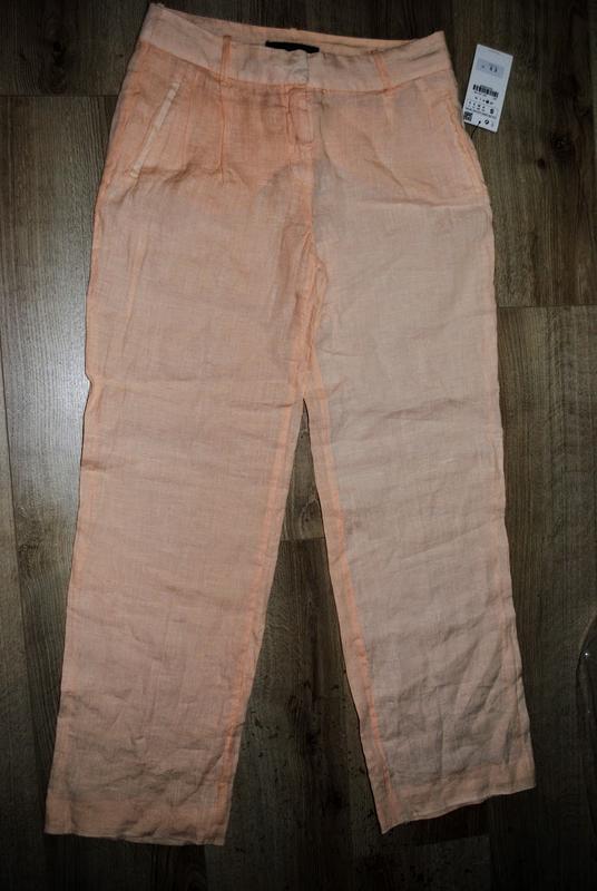 Льняные брюки zara s - Фото 4