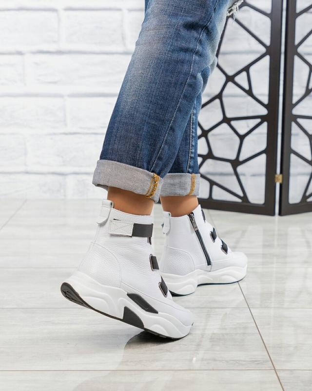 ❤ женские белые весенние демисезонные кожаные ботинки ботильон... - Фото 2