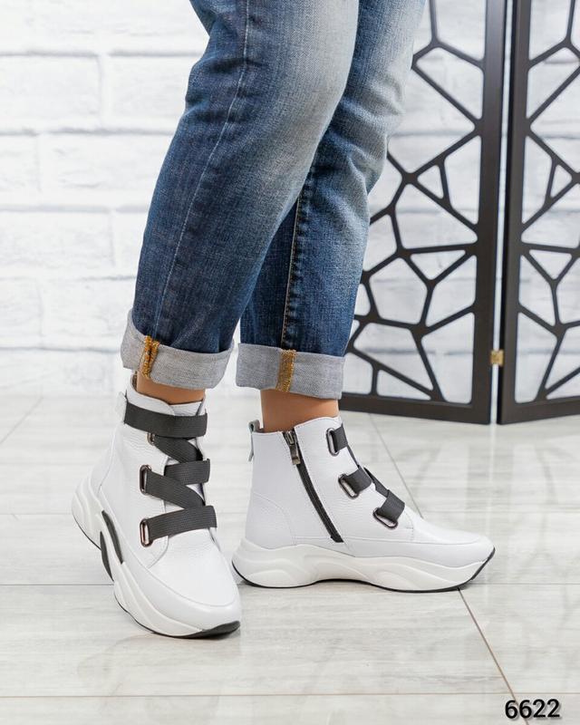 ❤ женские белые весенние демисезонные кожаные ботинки ботильон... - Фото 3