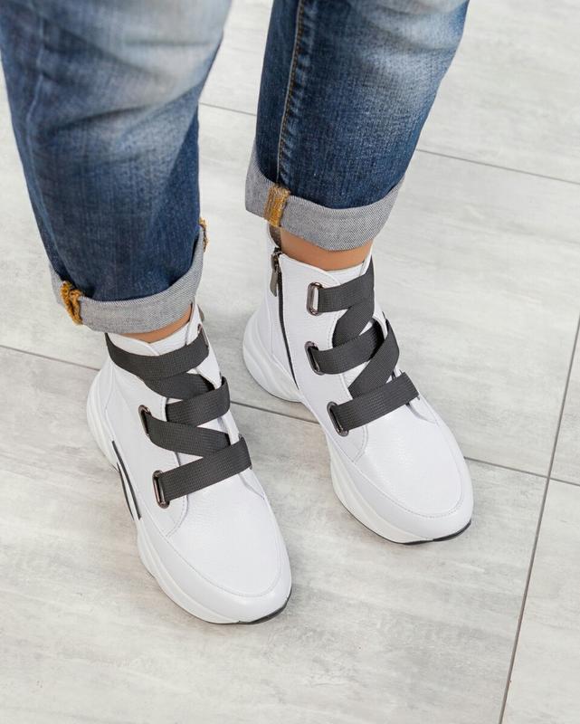 ❤ женские белые весенние демисезонные кожаные ботинки ботильон... - Фото 4