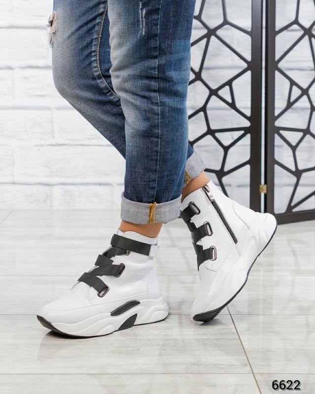 ❤ женские белые весенние демисезонные кожаные ботинки ботильон... - Фото 5