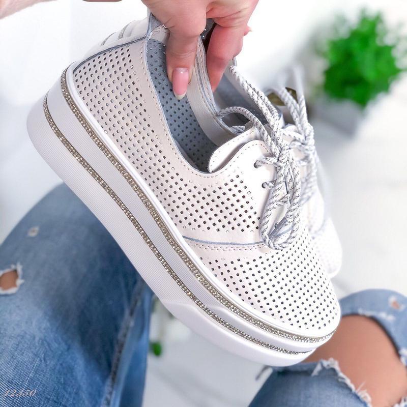 ❤ женские белые кожаные туфли лоферы ❤ - Фото 3