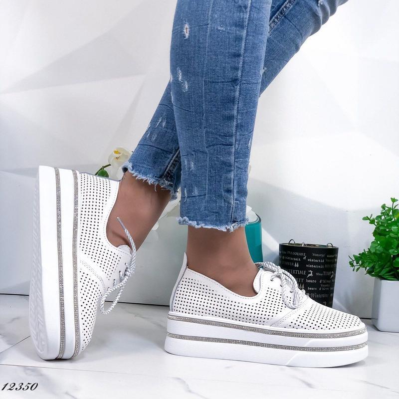 ❤ женские белые кожаные туфли лоферы ❤ - Фото 4