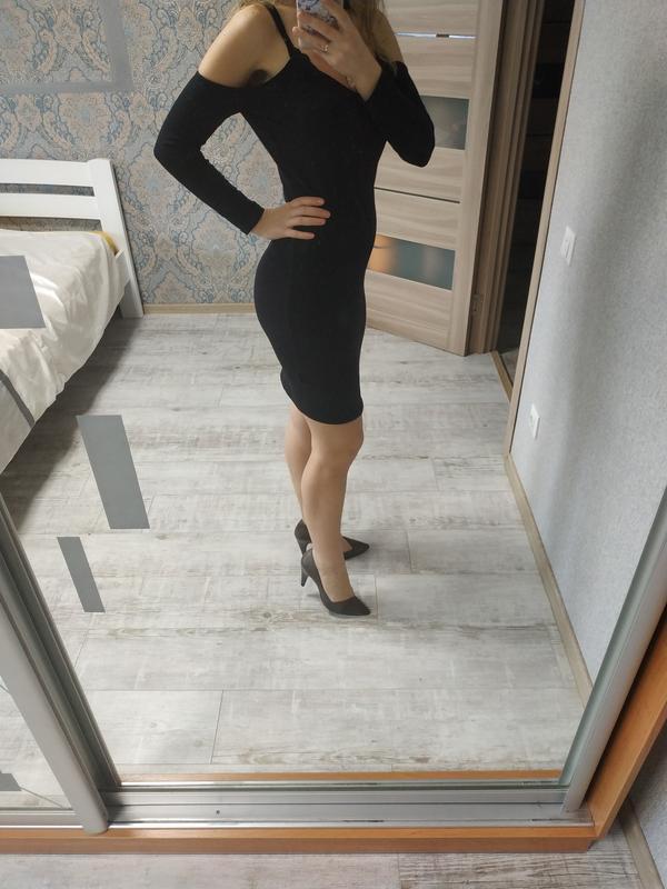 Красивое платье миди с открытыми плечами хлопок - Фото 3