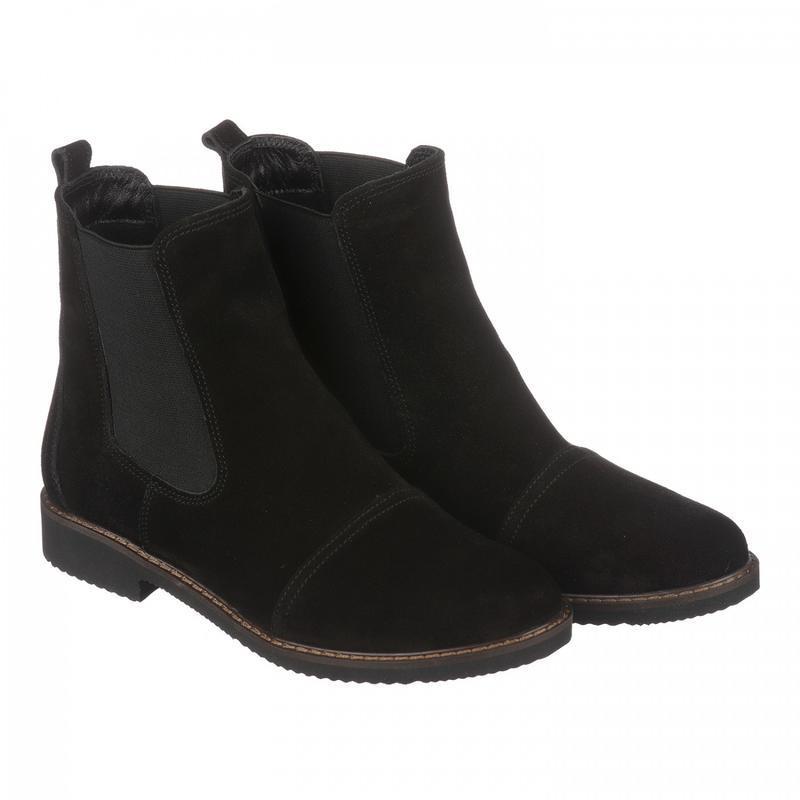 Замшевые женские демисезонные черные ботинки челси низкий кабл... - Фото 4