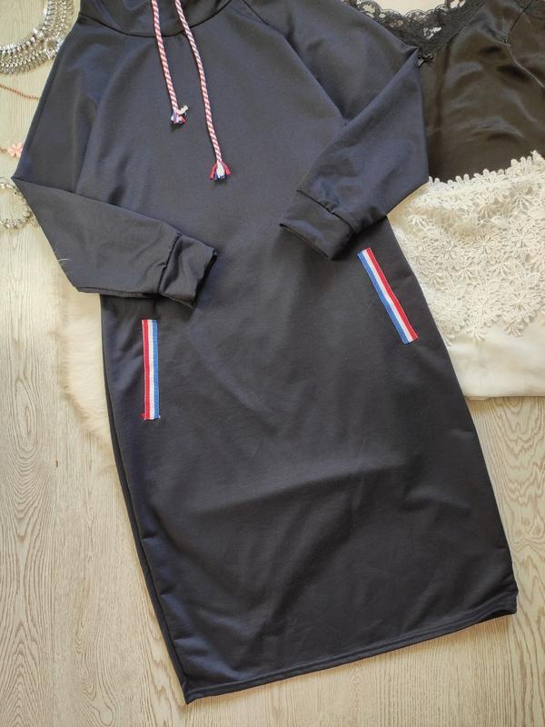 Синее спортивное платье длинное миди с высоким воротником карм... - Фото 6