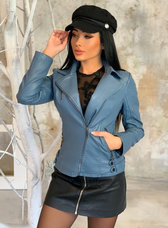 Шикарная куртка женская куртка косуха - Фото 3
