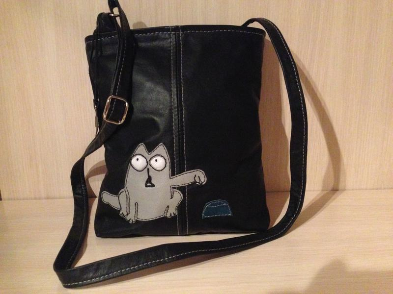 Кожаная сумочка кроссбоди кот саймон