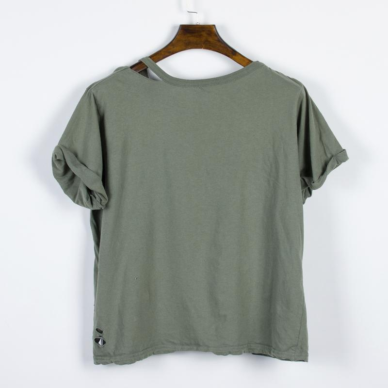 Женская футболка рваная, стильная футболка оверсайз, футболка ... - Фото 2