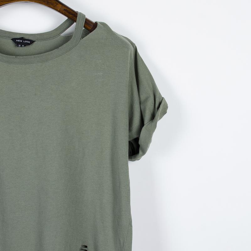 Женская футболка рваная, стильная футболка оверсайз, футболка ... - Фото 4