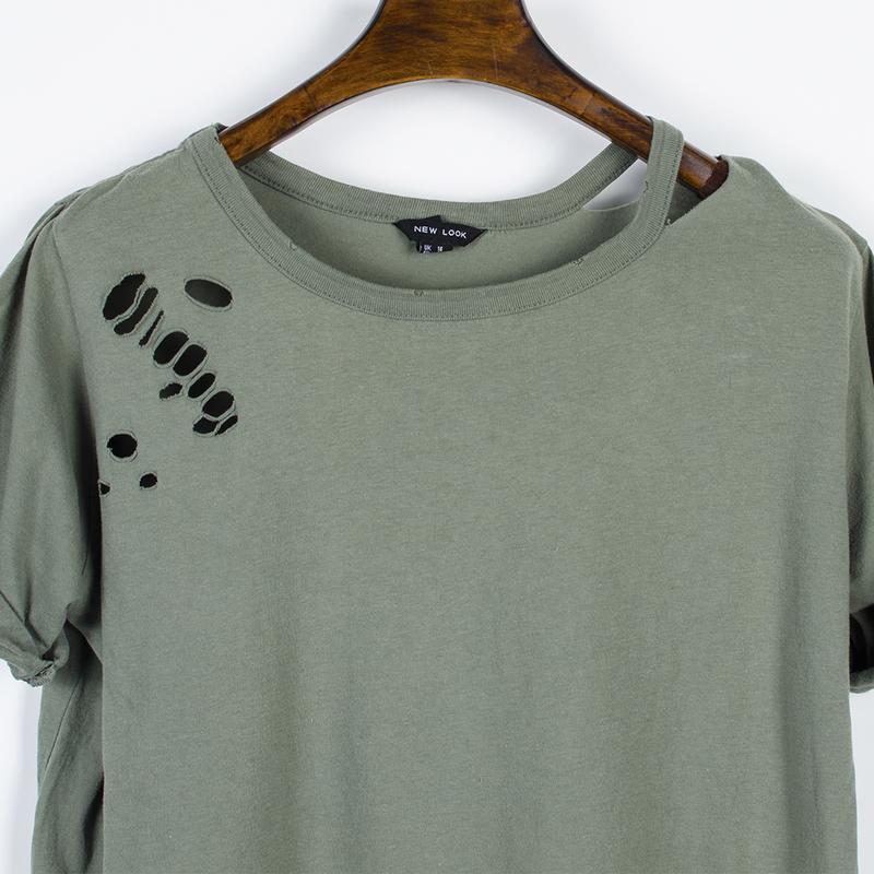 Женская футболка рваная, стильная футболка оверсайз, футболка ... - Фото 5