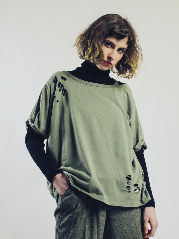 Женская футболка рваная, стильная футболка оверсайз, футболка ... - Фото 6