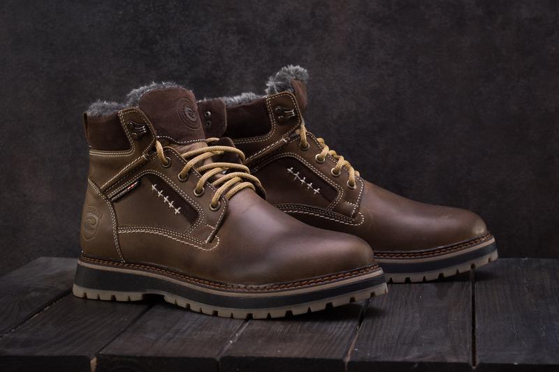 Мужские ботинки кожаные зимние оливковые riccone 222 - Фото 2