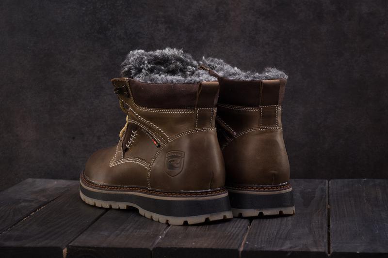 Мужские ботинки кожаные зимние оливковые riccone 222 - Фото 3
