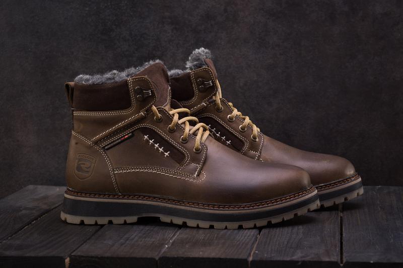 Мужские ботинки кожаные зимние оливковые riccone 222 - Фото 4