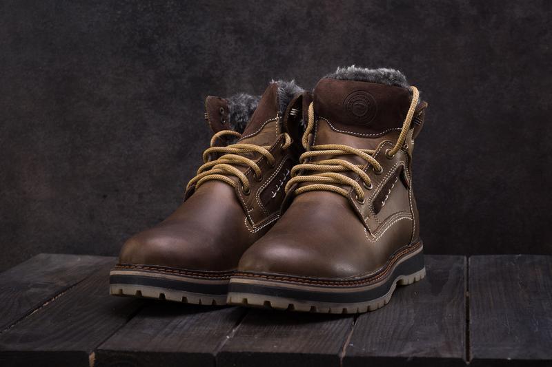 Мужские ботинки кожаные зимние оливковые riccone 222 - Фото 5