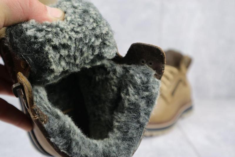 Мужские ботинки кожаные зимние оливковые riccone 222 - Фото 6