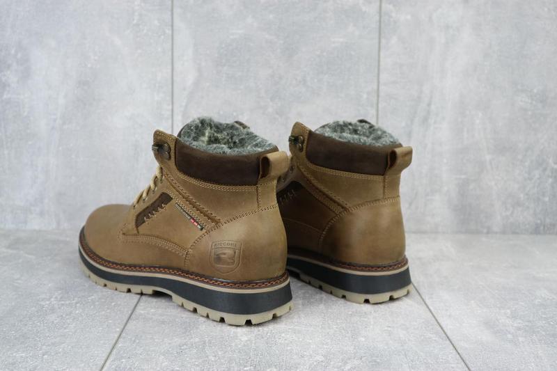 Мужские ботинки кожаные зимние оливковые riccone 222 - Фото 7
