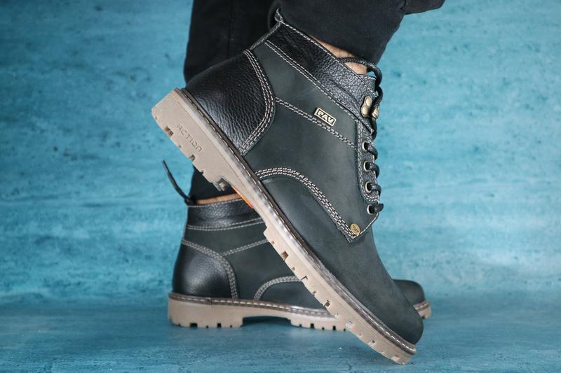 Мужские ботинки кожаные зимние коричневые pav 9665