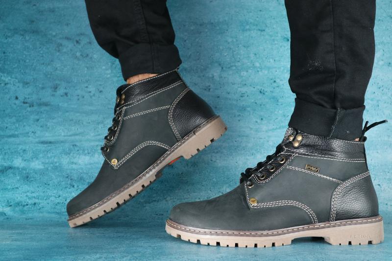 Мужские ботинки нубуковые зимние черные pav 9665 - Фото 2