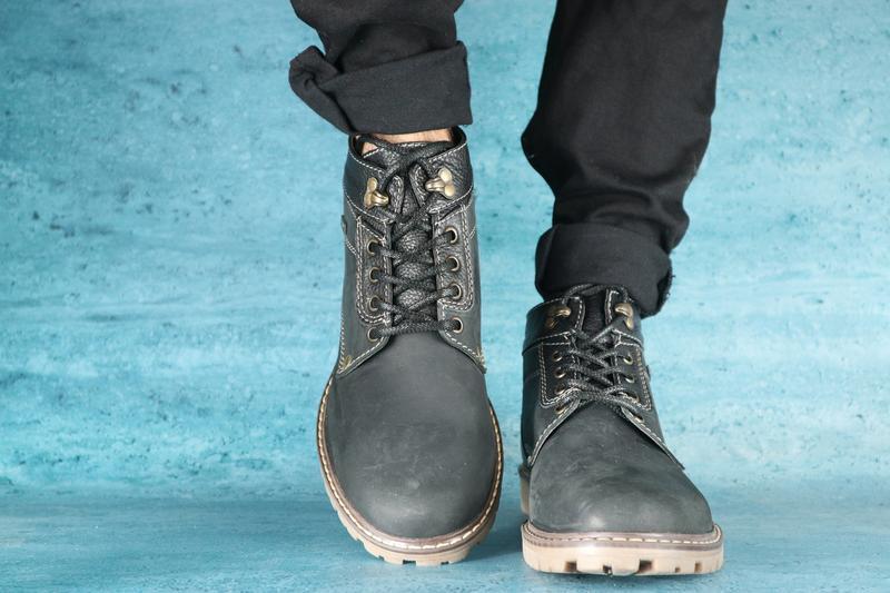 Мужские ботинки нубуковые зимние черные pav 9665 - Фото 3