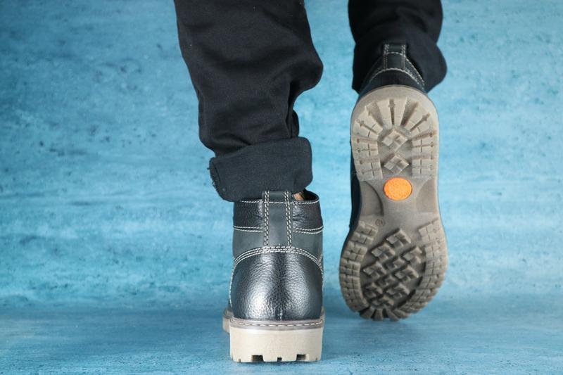 Мужские ботинки нубуковые зимние черные pav 9665 - Фото 4