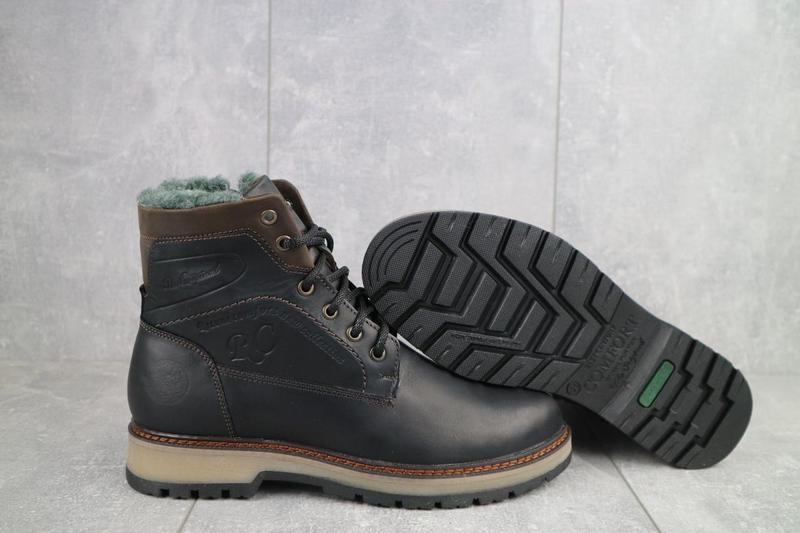 Мужские ботинки кожаные зимние черные riccone 515 - Фото 2