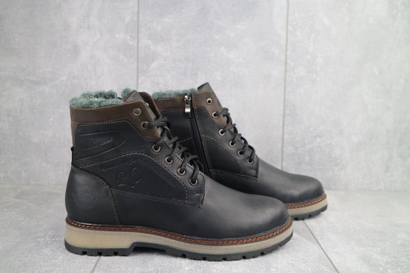 Мужские ботинки кожаные зимние черные riccone 515 - Фото 3