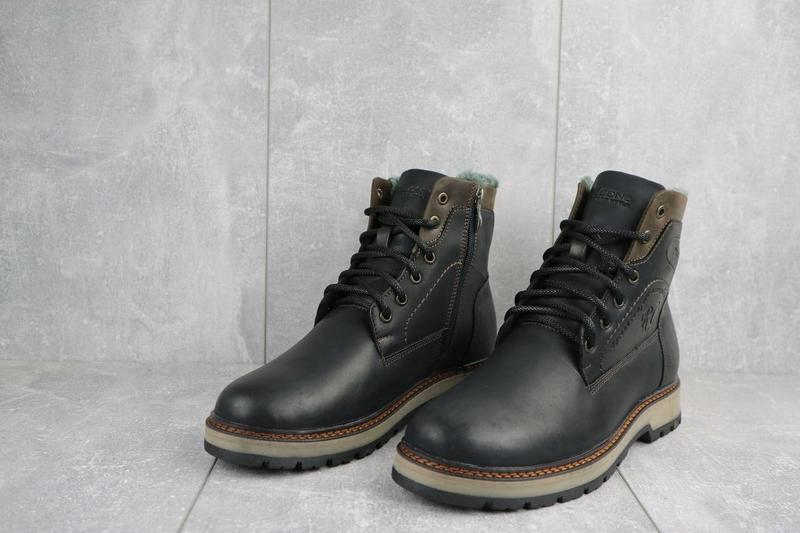 Мужские ботинки кожаные зимние черные riccone 515 - Фото 4