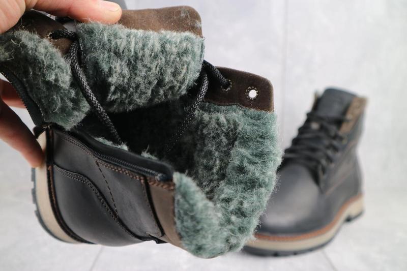 Мужские ботинки кожаные зимние черные riccone 515 - Фото 6