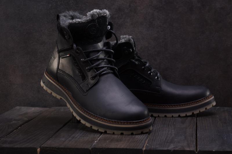 Мужские ботинки кожаные зимние черные riccone 222