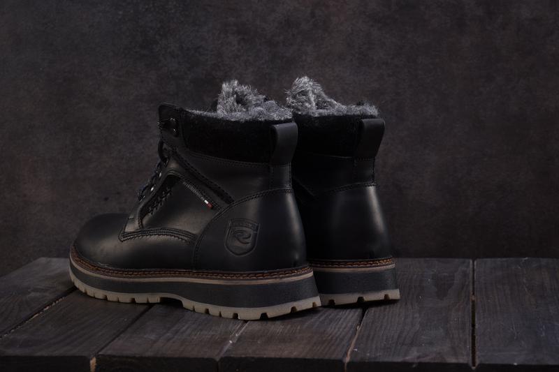 Мужские ботинки кожаные зимние черные riccone 222 - Фото 3
