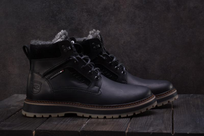Мужские ботинки кожаные зимние черные riccone 222 - Фото 4