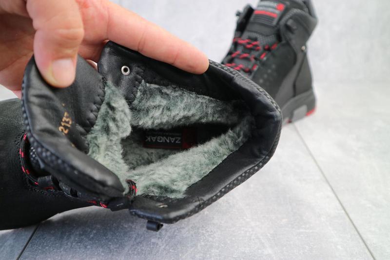 Мужские ботинки кожаные зимние черные zangak 129 ч-н-красн - Фото 3