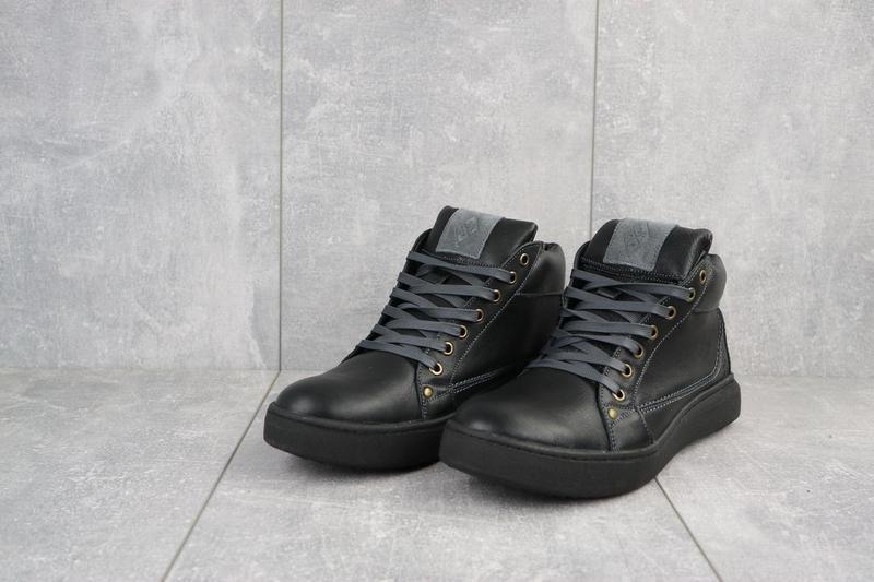 Мужские ботинки кожаные зимние черные bastion 18082ч - Фото 4