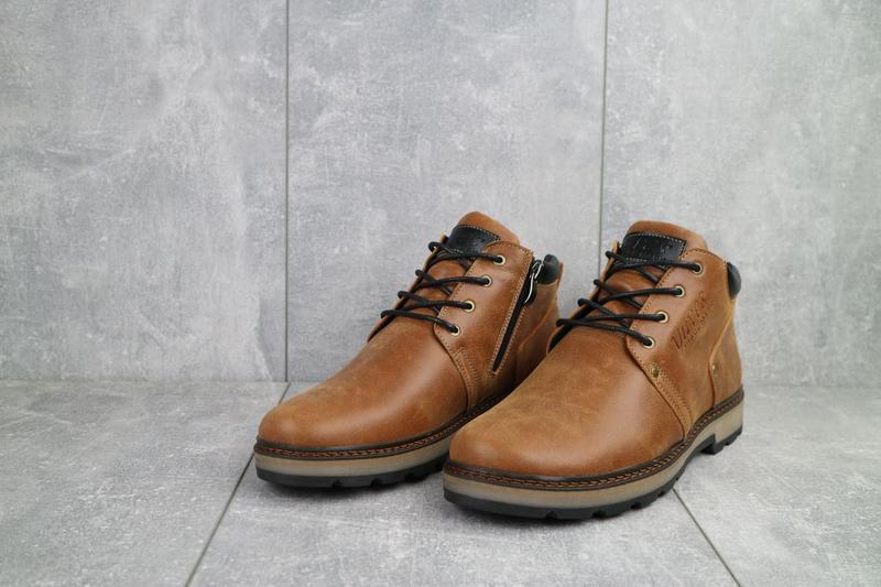 Мужские ботинки кожаные зимние рыжие yuves 781 - Фото 2