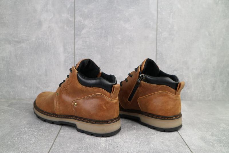 Мужские ботинки кожаные зимние рыжие yuves 781 - Фото 3