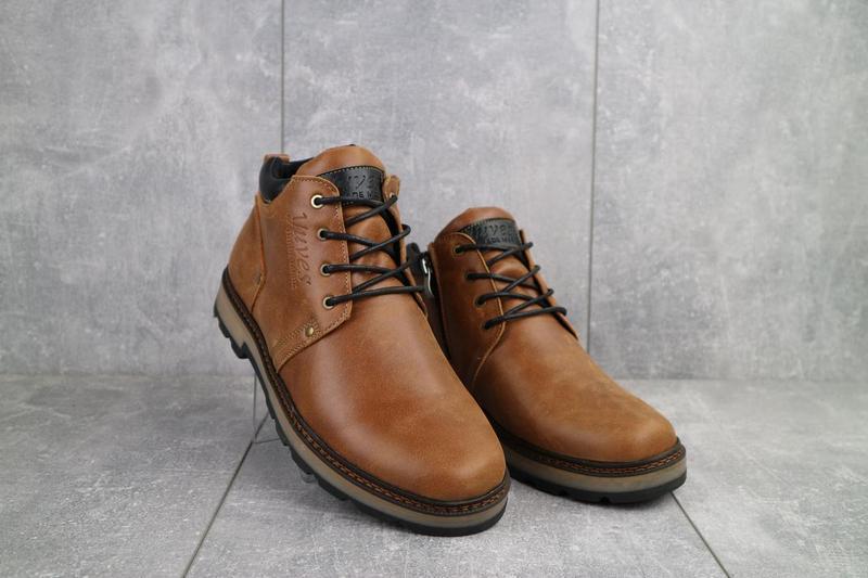 Мужские ботинки кожаные зимние рыжие yuves 781 - Фото 4