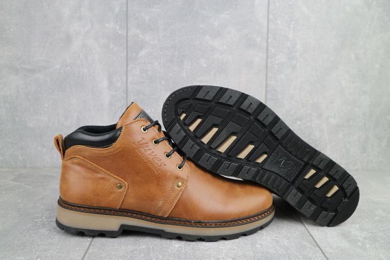 Мужские ботинки кожаные зимние рыжие yuves 781 - Фото 5