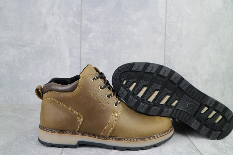 Мужские ботинки кожаные зимние оливковые yuves 781 - Фото 2