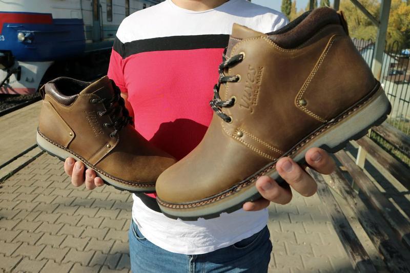 Мужские ботинки кожаные зимние оливковые yuves 781 - Фото 3