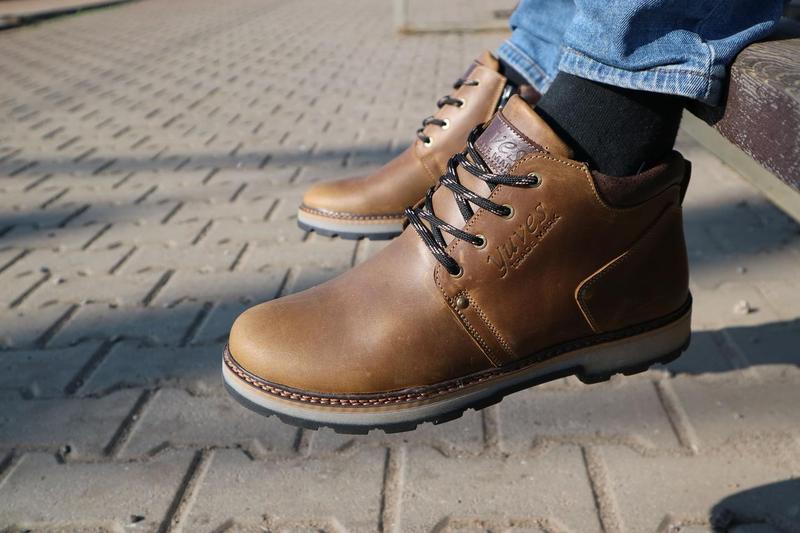 Мужские ботинки кожаные зимние оливковые yuves 781 - Фото 4